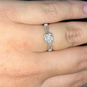 Silver Promise Ring w/ Small Diamonds